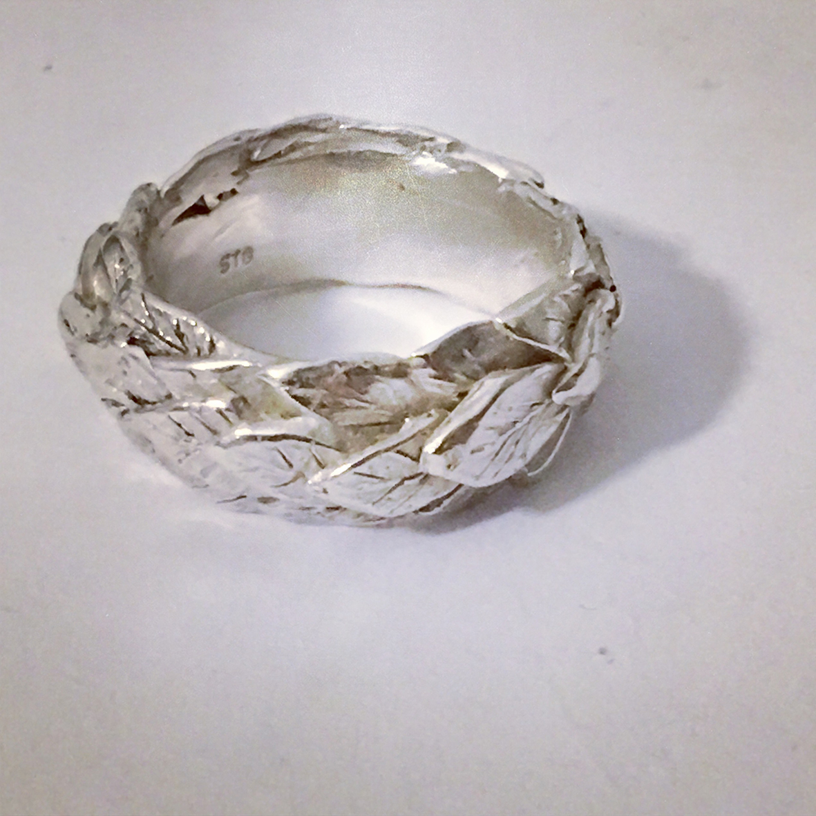 Revealed – Custom Sterling Silver Triple Leaf Band