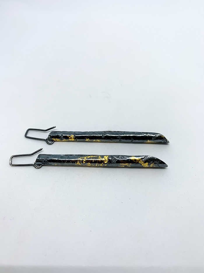 """Wrapped"" Pendant Earrings in Sterling Silver and 24ct Gold"