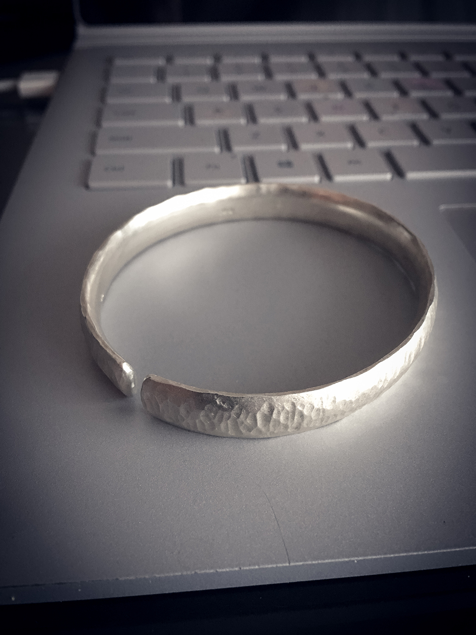 Hand Forged Unisex Sterling Silver Cuff