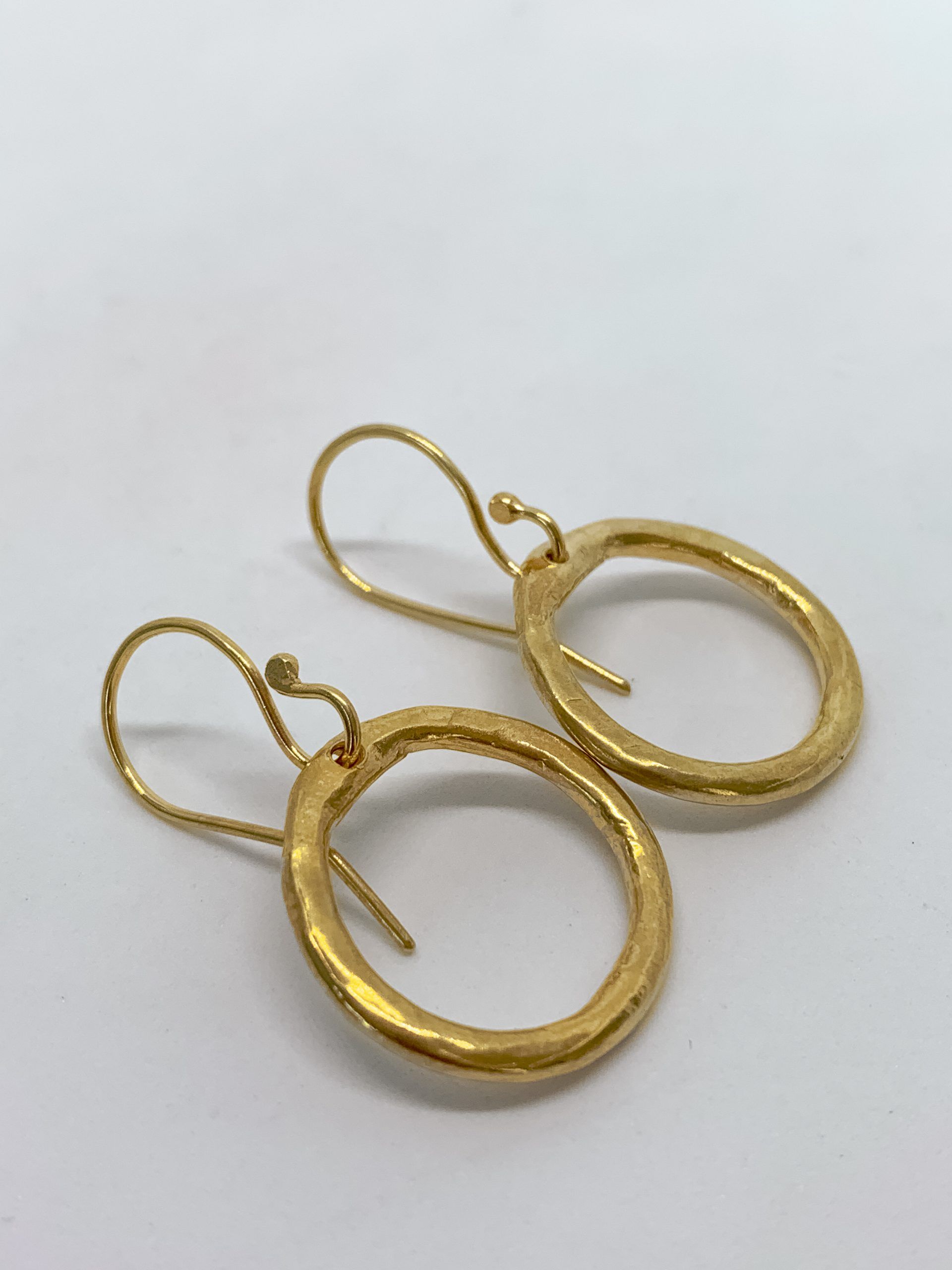 18ct Gold Plated Organic Circle Hoop Earrings