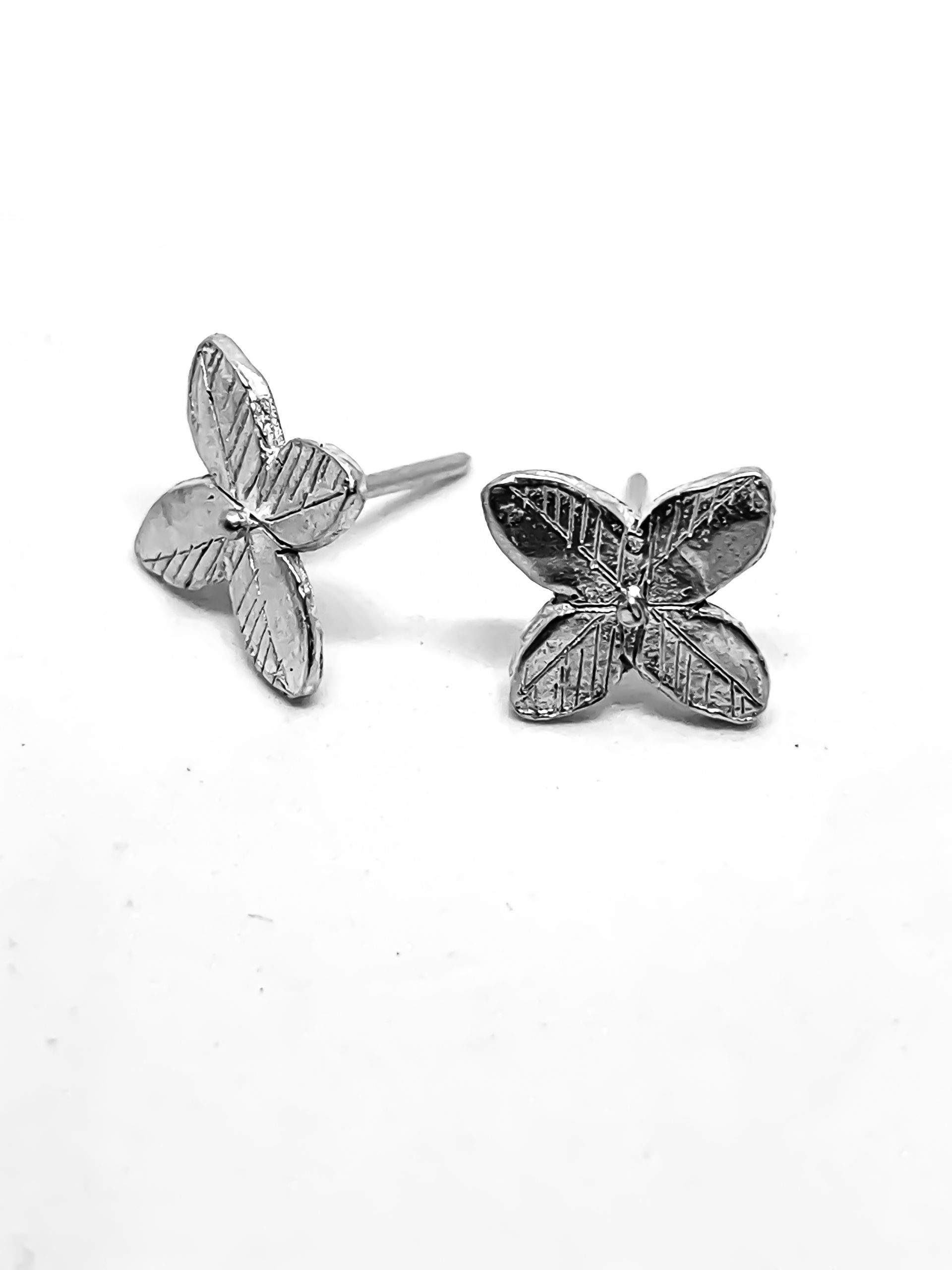 Hand Drawn Flower Studs in Sterling Silver