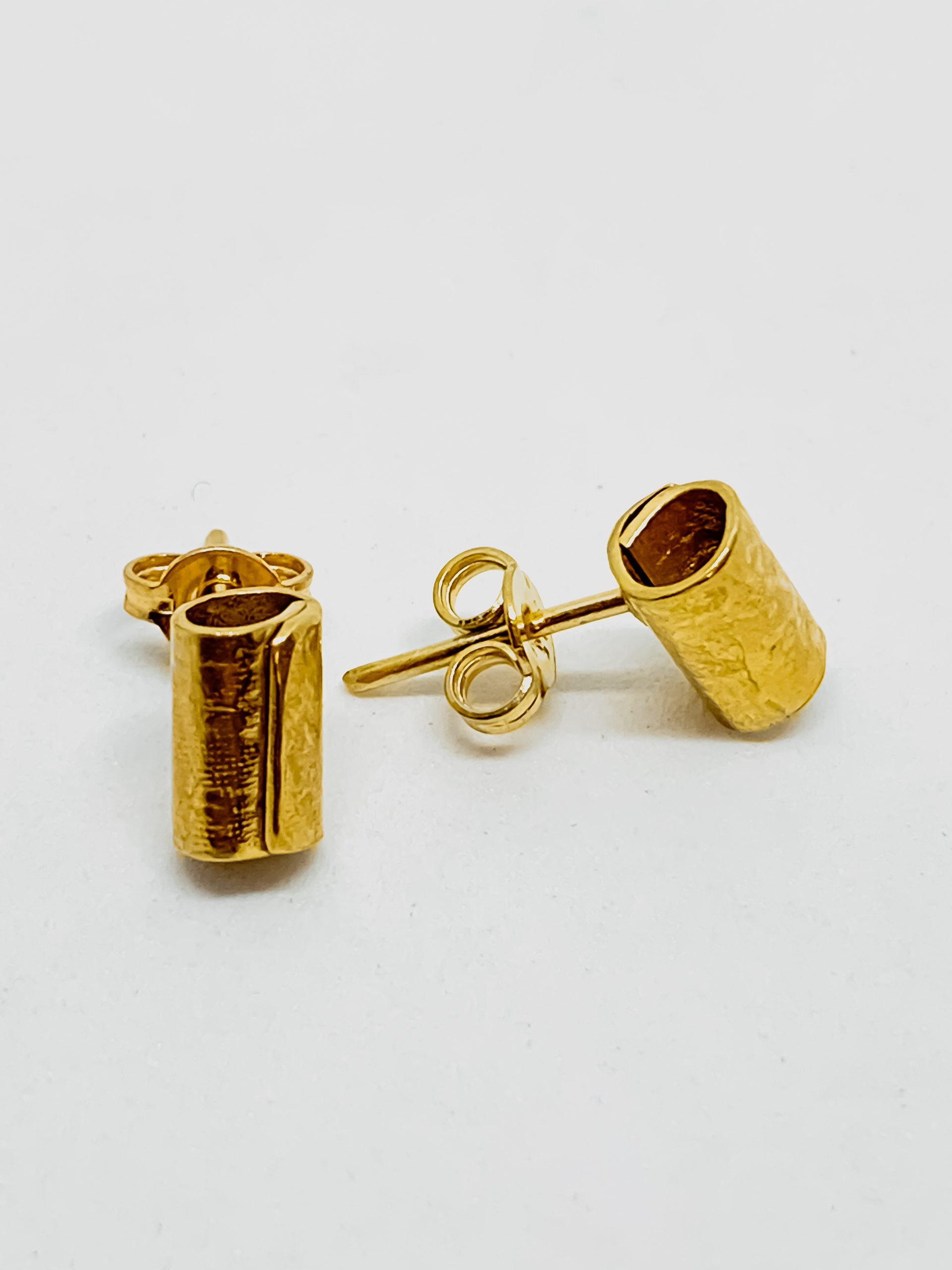 "18ct Gold Plated ""Wrapped"" Cylindrical Stud Earrings"