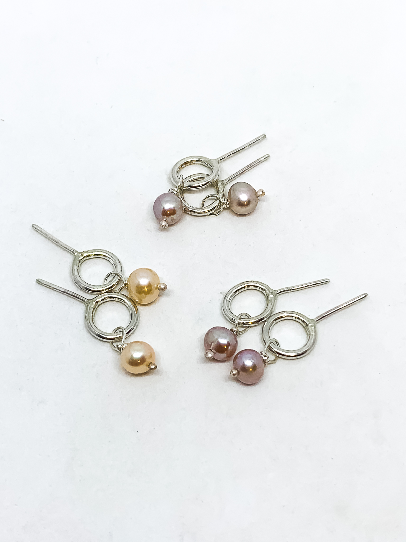 Abstract Circle Earrings with Pearl Charms | Studs | Sterling Silver + Fresh Water Pearls