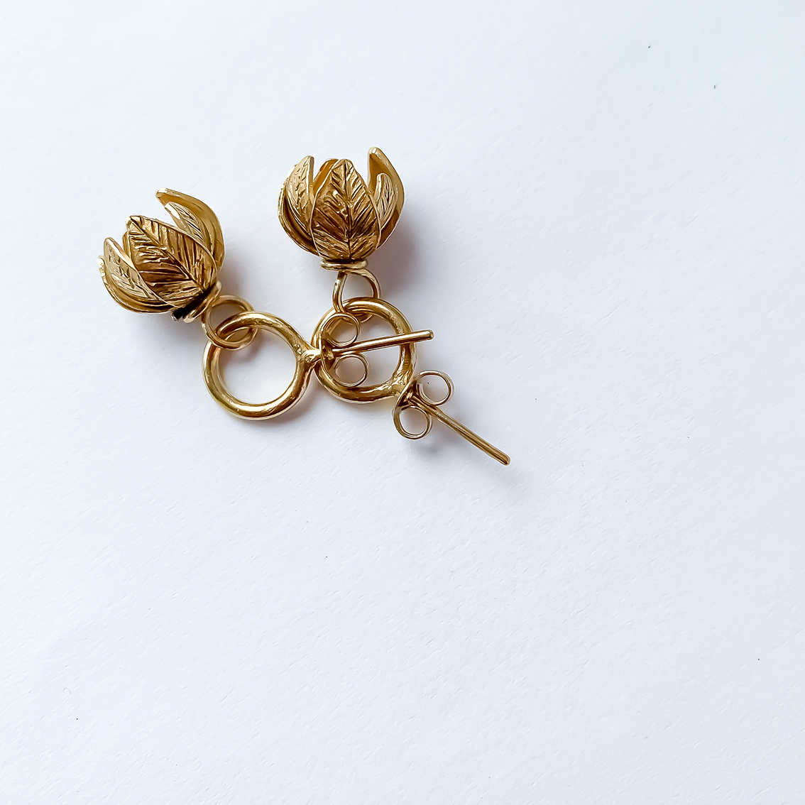 Abstract Circle Earrings with Flower Charm | Studs | 18ct Gold Plate