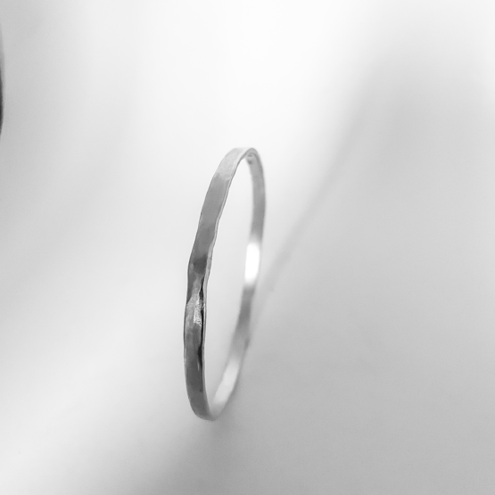 Sterling Silver Organic Textured Flat Bangle Front Profile