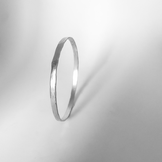 Sterling Silver Organic Textured Flat Bangle Side Profile
