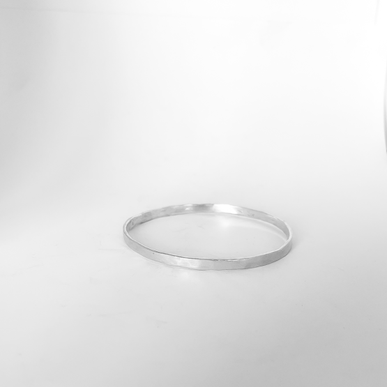 Sterling Silver Organic Textured Flat Bangle