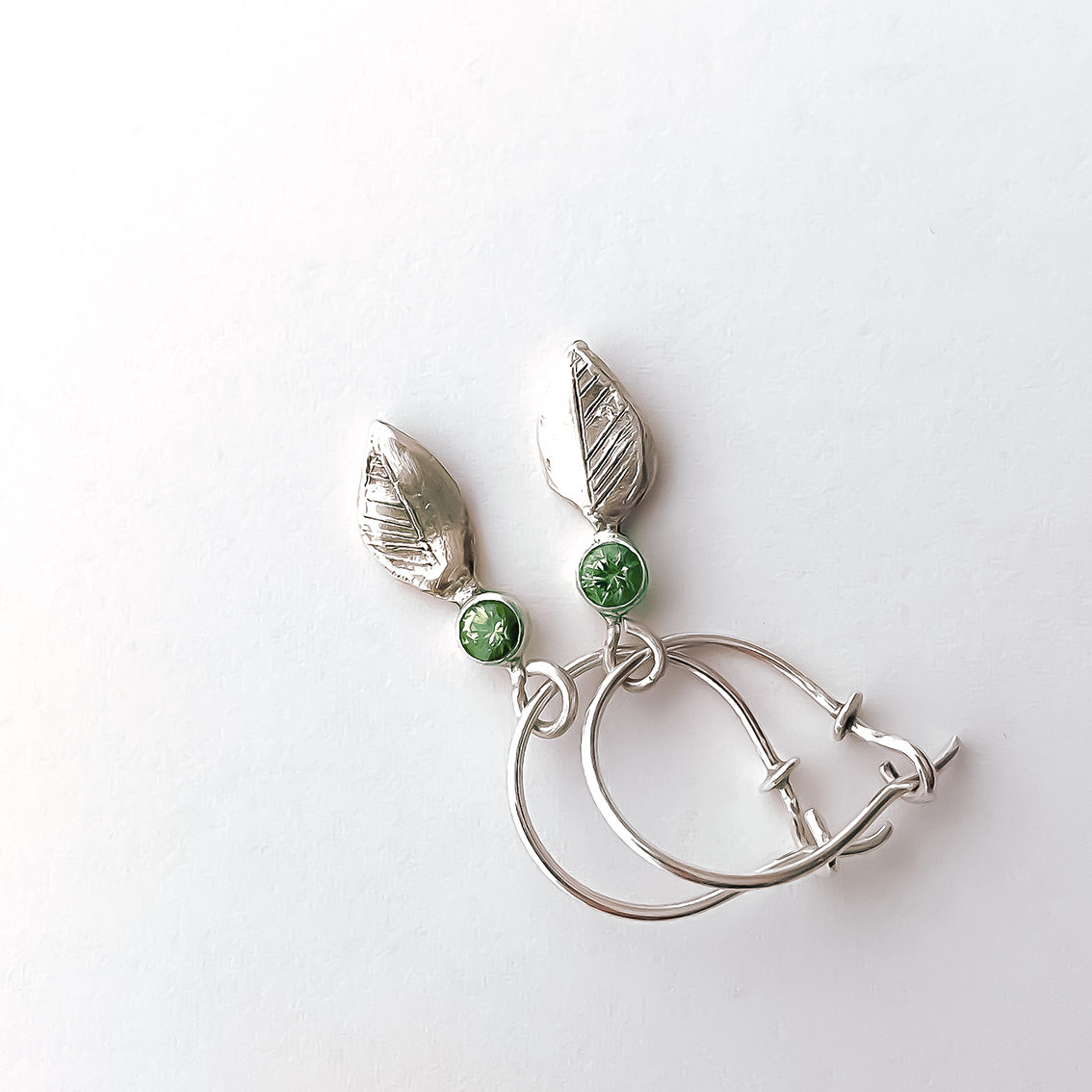 Hoop Earrings with Charms | Leaf Charms | Sterling + Peridots